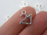 6 Number 21 charms 12 x 10mm silver plated