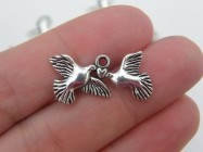10 Doves and heart charms antique silver tone B93