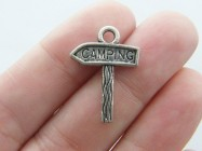 8 Camping sign charms  antique silver tone P40