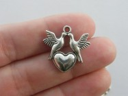 6 Doves and heart charms antique silver tone B49