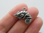 4 Chameleon charms antique silver tone A44