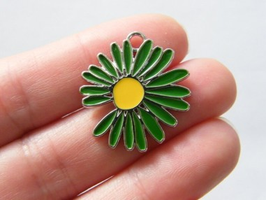 2 Flower charms green and yellow silver tone F315