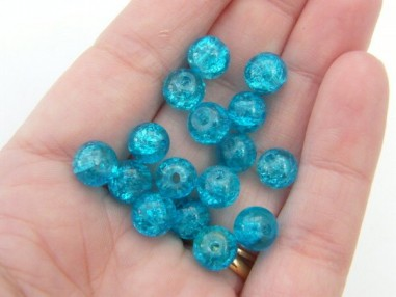 100 Blue crackle glass beads B125