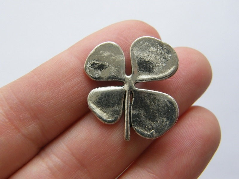 4 Four leaf clover charms antique silver tone L135