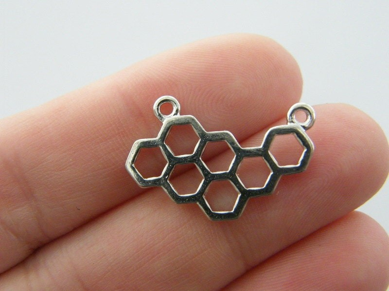 BULK 50 Honeycomb bee hive connector charms antique silver tone A263
