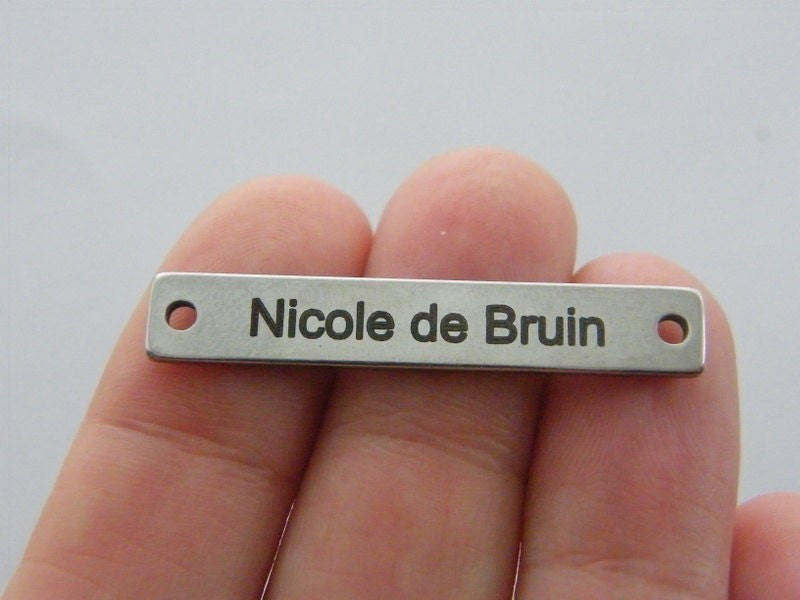 BULK 5 Custom made laser engraved - you choose the words  stainless steel TAG29
