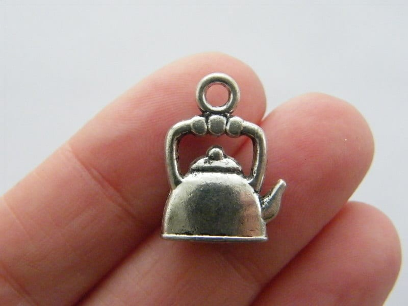 6 Kettle charms antique silver tone FD241