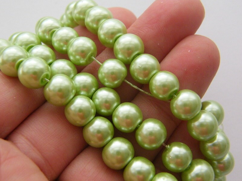 100 Lightgreen imitation pearl  glass beads B105