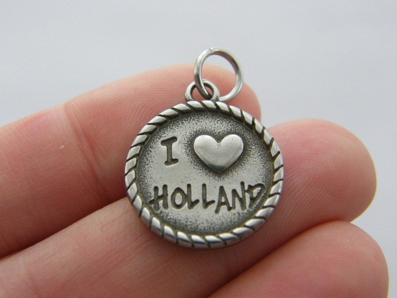 1 I love Holland charm dark silver tone stainless steel WT184