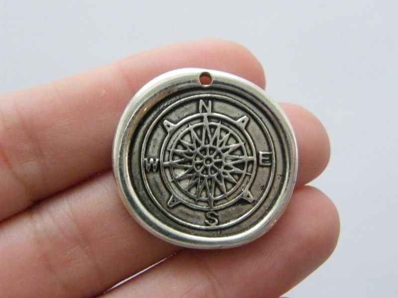 BULK 10 Waxed seal compass charms antique silver tone SC108