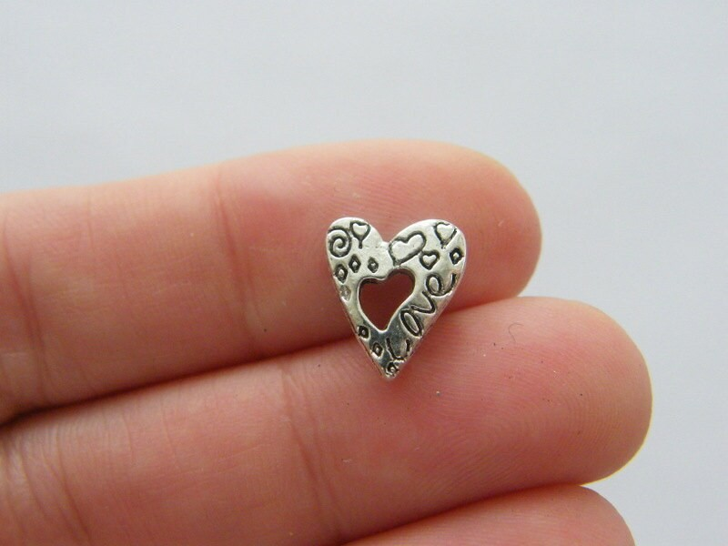 14 Heart spacer beads antique silver tone H165