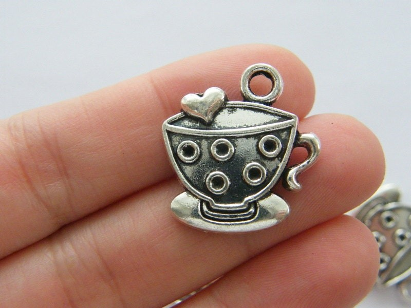 6 Cup and saucer teacup charms antique silver tone FD350