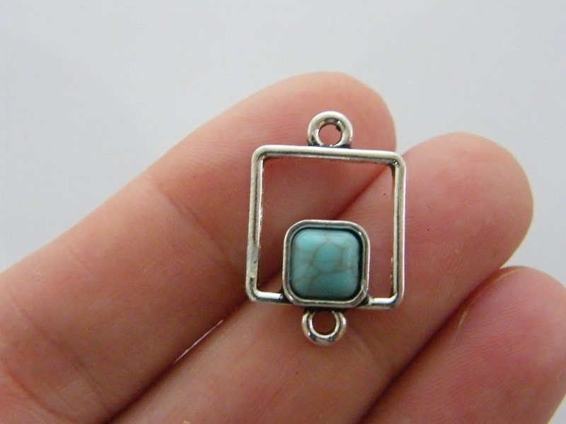 4 Square connector charms antique silver tone M238