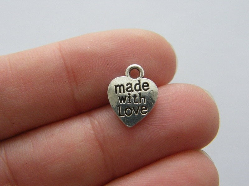 BULK 50 Made with love heart charms antique silver tone M280