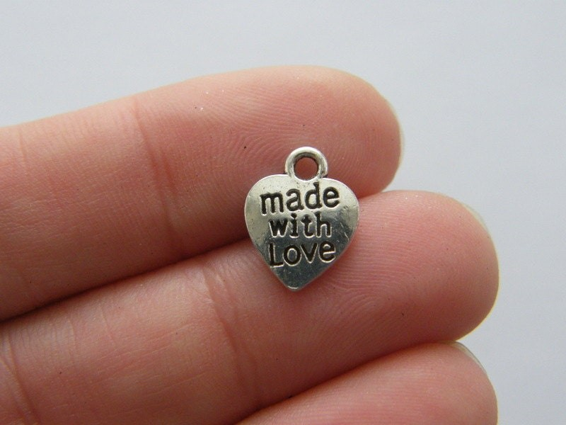 12 Made with love heart charms antique silver tone M280