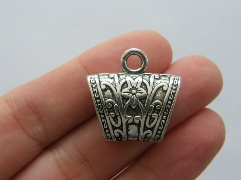 10 Bails antique silver tone FS49