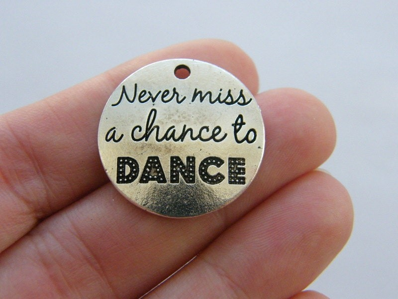 2 Never miss a chance to dance charms antique silver tone M164