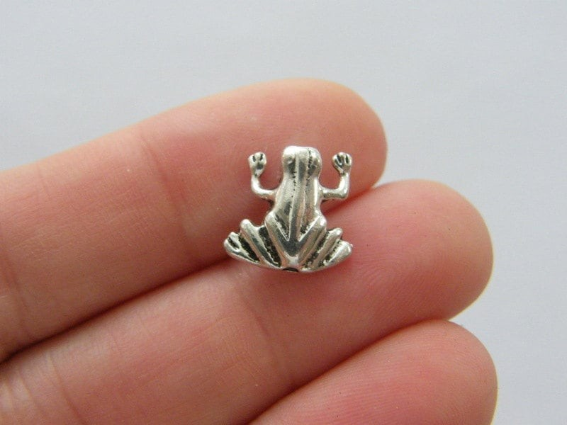 BULK 50 Frog spacer beads antique silver tone A34