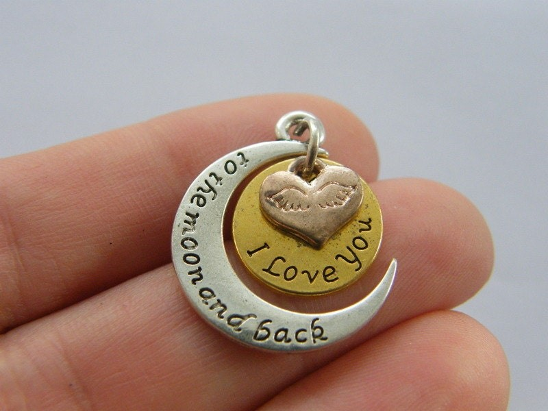 4 I love you to the moon and back charms antique silver, gold and copper tone M267