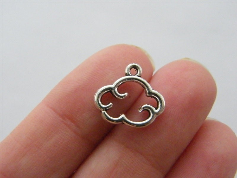 BULK 50 Cloud charms antique silver tone S20