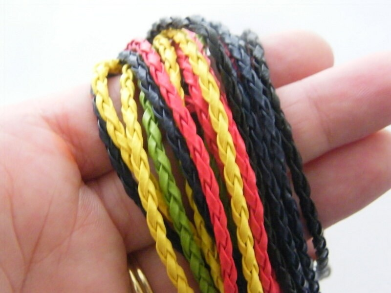 BULK 20 mixed leather bracelets 24cm x 3mm