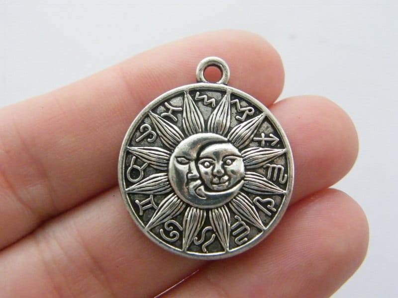 4 Sun moon zodiac sign charms antique silver tone S112