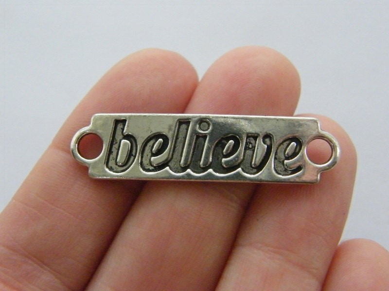 4 Believe connector charms antique silver tone M179