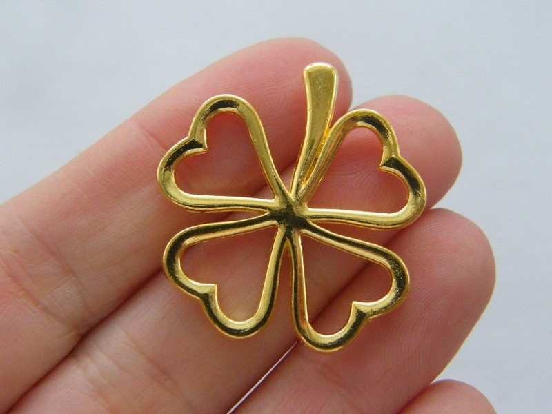 4 Four leaf clover charms gold tone GC240
