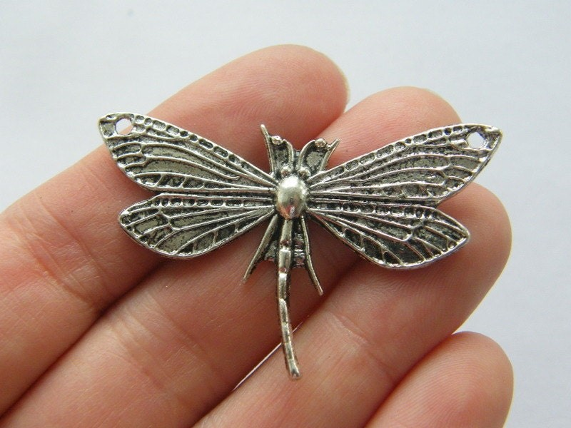 4 Dragonfly connector charms antique silver tone A204