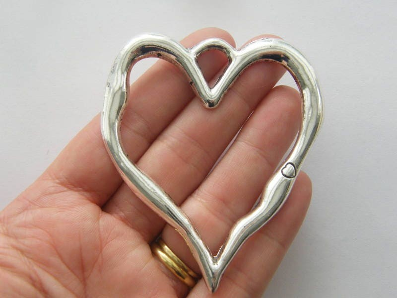 1 Heart pendant antique silver tone BFM3