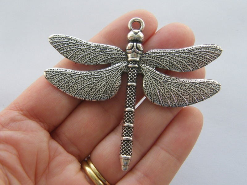 BULK 5 Dragonfly pendants antique silver tone A215