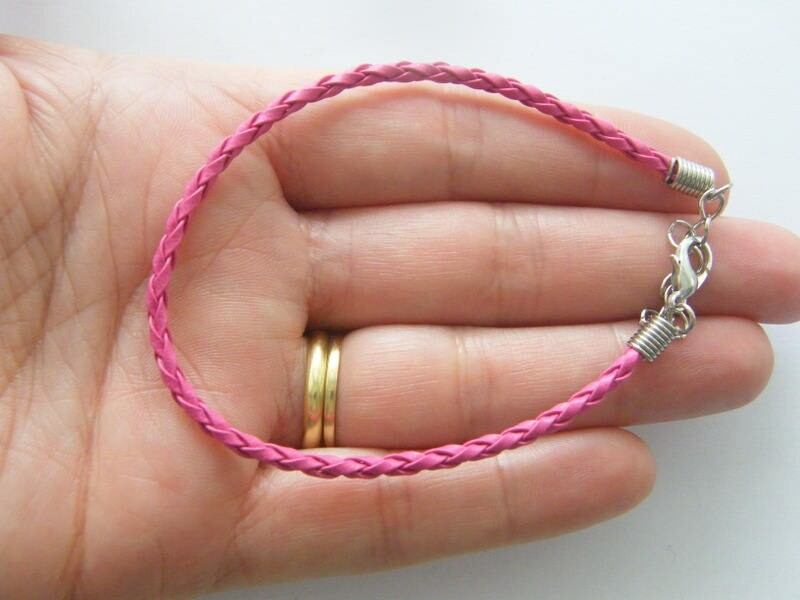 4 Pink leather braided bracelets 24cm x 3mm