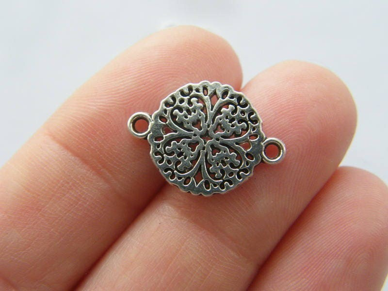 10 Flower connector charms antique silver tone F200