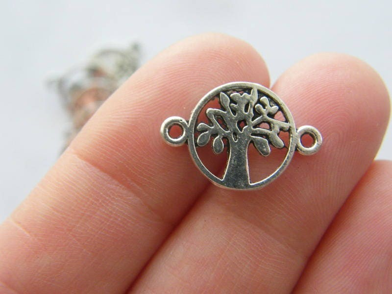 12 Tree connector charms antique silver tone T92