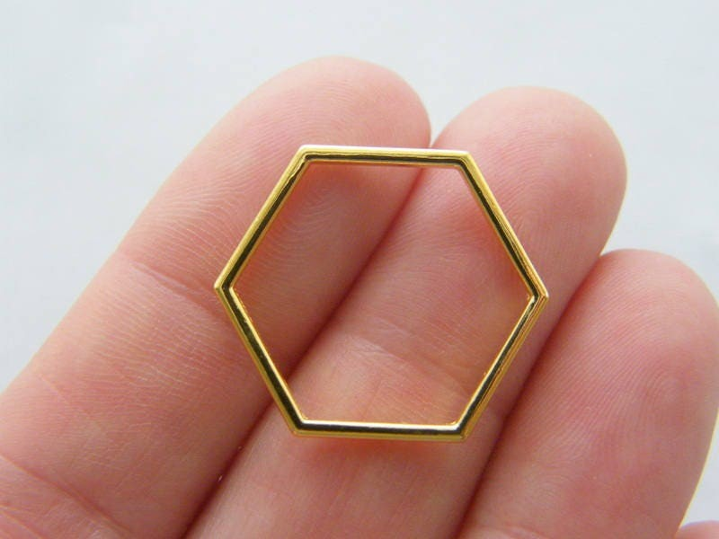 8 Honeycomb bee hive connector charms gold tone GC196