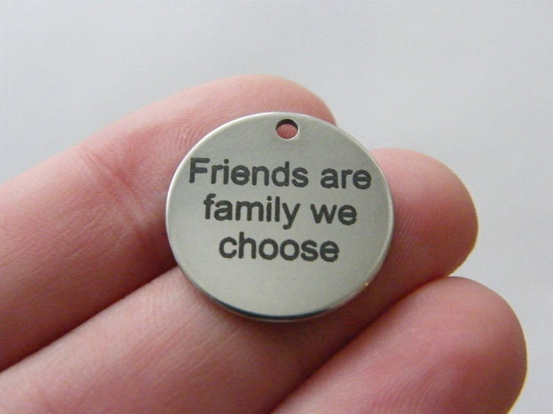 BULK 10 Friends are family we choose tag charm 20 x 1mm  stainless steel TAG9-1