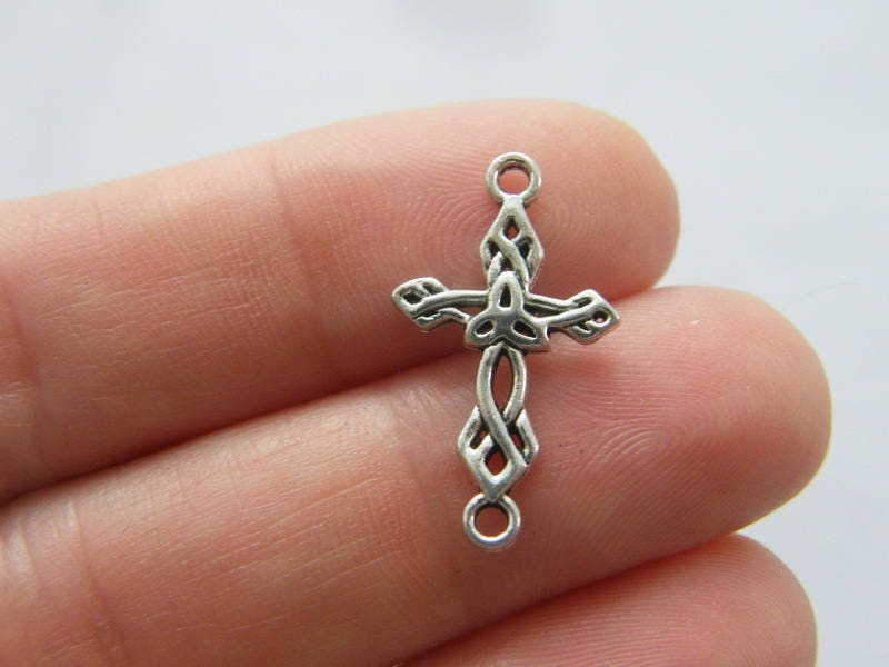 12 Cross connector charms antique silver tone C111