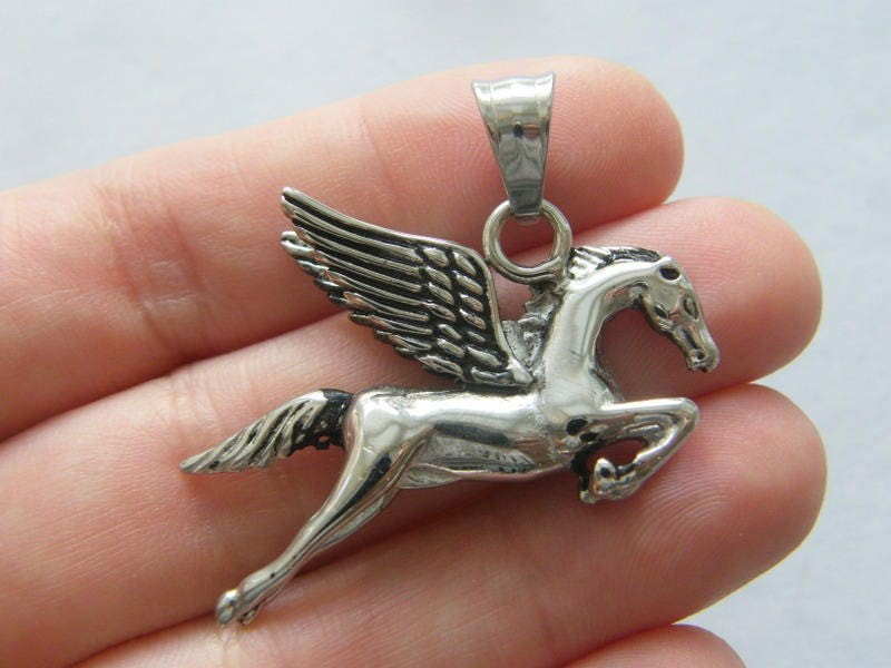 1 Pegasus pendant antique silver tone stainless steel A361