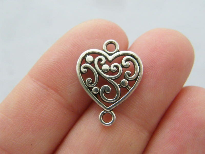 BULK 50 Heart connector charms antique silver tone H180