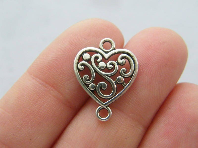 10 Heart connector charms antique silver tone H180