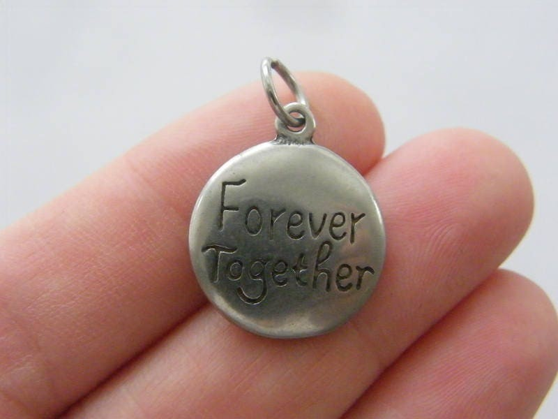 1 Forever together charm dark silver tone stainless steel M414