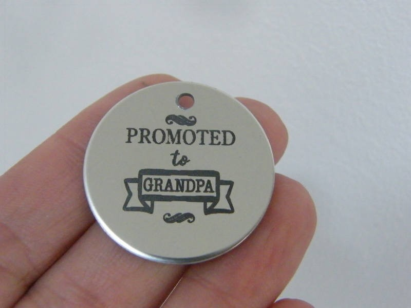 1 Promoted to Grandpa stainless steel pendant JS1-30