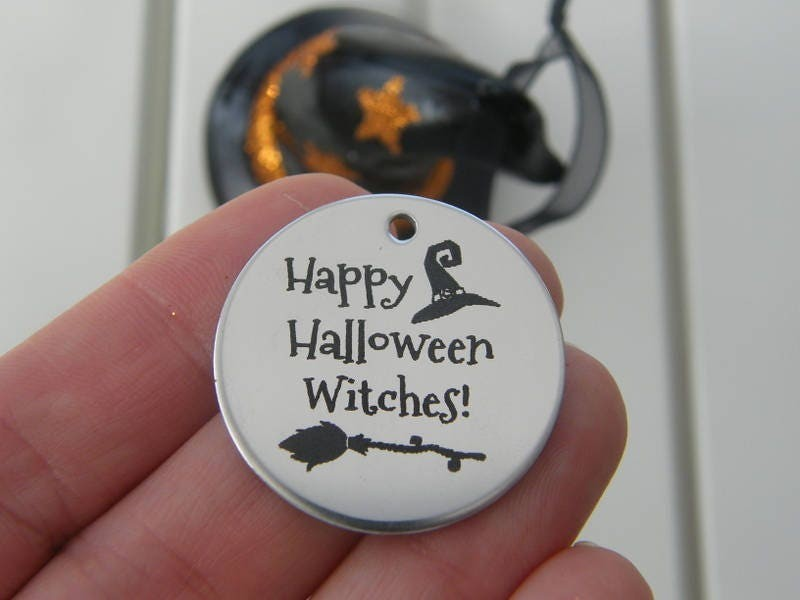 1 Happy Halloween Witches ! stainless steel pendant JS1-6