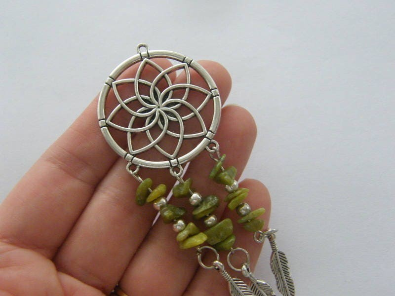 1 Dream catcher mossy green stones charm antique silver tone M908