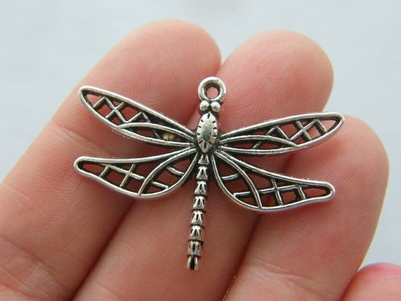 6 Dragonfly charms antique silver tone A678
