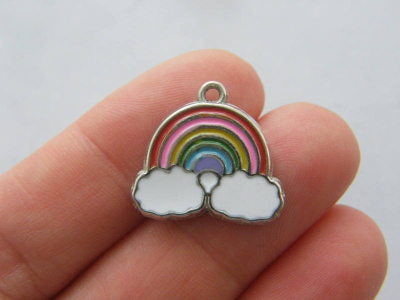 4 Rainbow charms silver tone S208