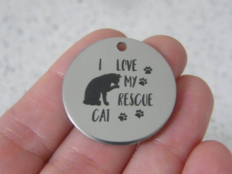 1  I love my rescue cat stainless steel pendant JS2-43