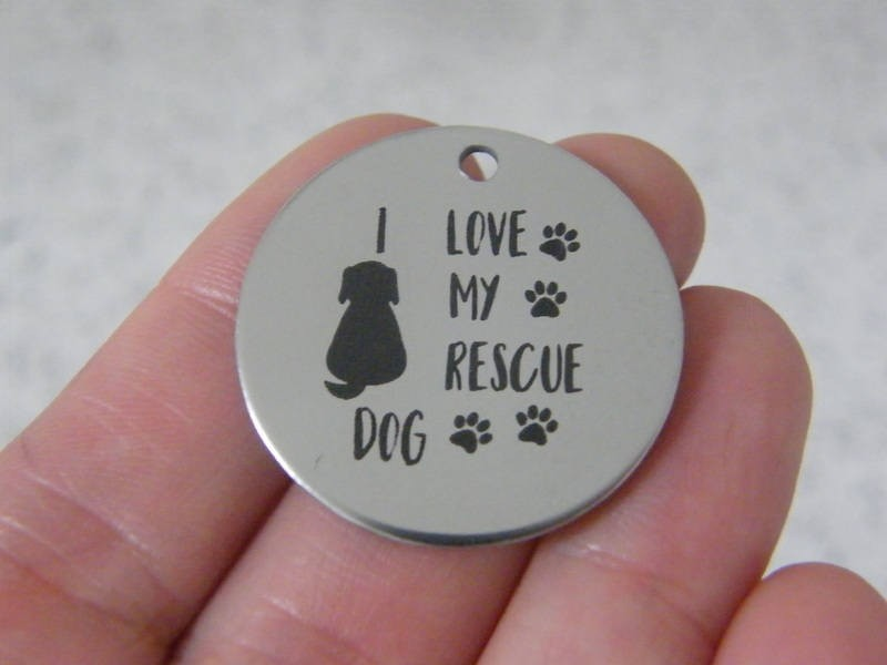 1  I love my rescue dog stainless steel pendant JS2-44