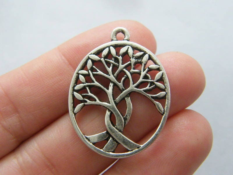 4 Tree pendants antique silver tone T104