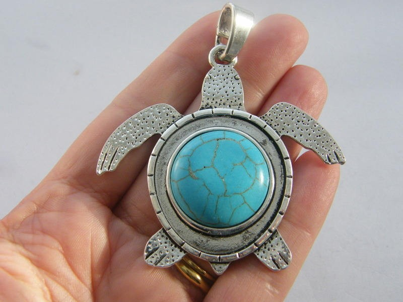 1 Turtle pendant blue green antique silver tone BFM9